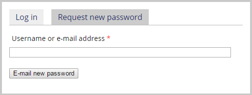 Request New Password example.